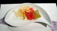 揚げ湯葉とサーモンのマリネ