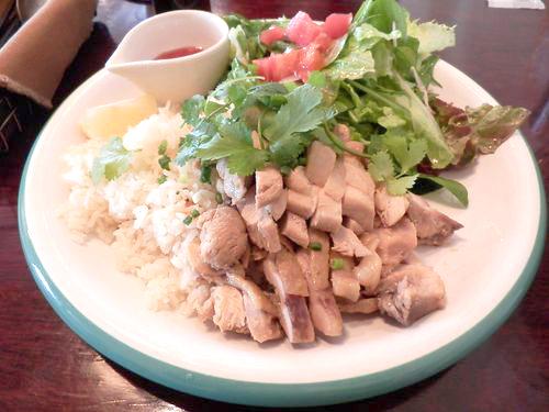 蒸し鶏サラダごはんセット(シンガポールの鶏飯)